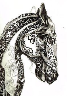 Ça pourrait être intéressant en début d'année, non?!? Dessin d'observation d'une tête d'animal à la ligne+ ajout de motifs abstraits.