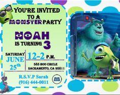 Monsters Inc Birthday Invitation por WonderstruckPrints en Etsy