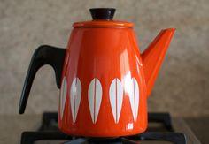 Vintage Cathrineholm Enamelware Lotus Design Coffee / Tea Pot - Red Orange with Booklet