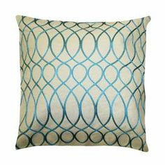 """Set of two cotton pillows with feather-down fill and a scrolling lattice motif.   Product: Set of 2 pillowsConstruction Material: 100% Cotton cover and feather-down fillColor: TurquoiseFeatures: Inserts includedDimensions: 18"""" x 18"""" eachCleaning and Care: Spot clean"""