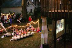 outdoor movie party.