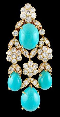 VAN CLEEF & ARPELS Turquoise & Diamond Pin/Pendant