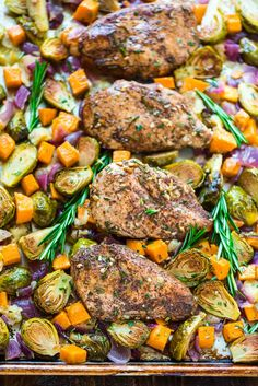 Sheet Pan Chicken with Sweet Potatoes, Apples and Brussels Sprouts. Easy chicken and veggie dinner that's baked on one pan and has the best flavors of fall! Whole 30 Recipes, Real Food Recipes, Chicken Recipes, Cooking Recipes, Healthy Recipes, Healthy Eats, Pan Cooking, Cod Recipes, Carrot Recipes