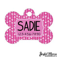Personalized Dog Name Tag - Dog ID Tag - Pink Arrow Custom Dog Collar Tag - Dog Tag Geometric Pattern