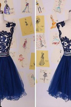 New Short Prom Dresses Special Occasion Dresses Blue Lace Party Gown 2015 New Fashion Pretty Chiffon Prom Dress