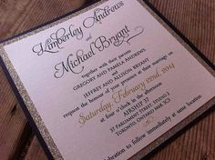 Custom Color Invitation with Beautiful Glitter Backing on Etsy, $4.75 CAD