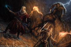 Bugbear Surprise by Akeiron elf wizard female elf half-elf halfing rogue player character npc | Create your own roleplaying game material w/ RPG Bard at www.rpgbard.com | Writing inspiration for Dungeons & Dragons DND Pathfinder PFRPG Warhammer 40k Star Wars Shadowrun Call of Cthulhu and d20 fantasy science fiction scifi horror design | Not our art: please click artwork for source