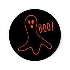 Boo Fun Cute #Scary Orange on Black #Ghost Sticker