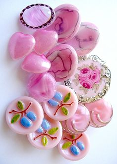 Pretty vintage pink glass buttons