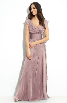 Adrianna Papell Tiered Chiffon Gown available at #Nordstrom-- Smoke