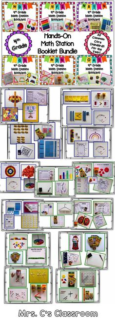 Now at a discounted price. This 4th grade yearlong hands-on math station booklet bundle contains 900 pages! There are 28 booklets, plus resources, for ALL the common core math standards.