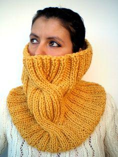 Rib Braid Cowl Super Soft Wool Neckwarmer Unisex by GiuliaKnit, $47.00