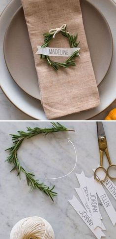 A rosemary wreath place card for a winter wedding decoration. Un círculo de ros… A rosemary wreath place card for a winter wedding decoration. A circle of rosemary serves as a seat marker and is simple to make yourself. Winter Wedding Decorations, Wedding Centerpieces, Winter Weddings, Winter Centerpieces, Xmas Table Decorations, Homemade Decorations, Wedding Themes, Beach Weddings, Masquerade Centerpieces