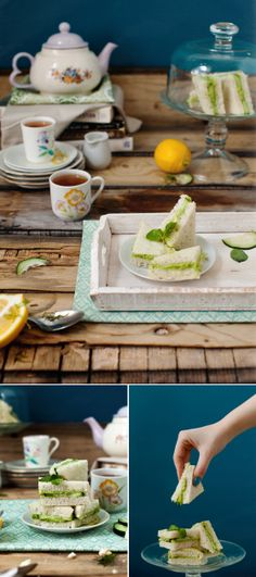 (Veggie Challenge Inspiration) Cucumber Avocado Tea Sandwiches. I would love to try this one with my non-participating friends. Add some more vegetarian/ vegan sandwiches and (cup)cakes and voila!