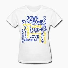 Down Syndrome awareness, support, research, encourage, love, advocate message with blue and yellow ribbon.