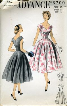 PRINCESS SILHOUETTE. Smoothly fitted to waistline and then flared to hemline. Flattering V-neckline front and back. Soft folds at shoulder either side of front are accented with ribbon bows. Drop shoulder sleeves. Pocket at hips in side seams. Center back zipper closing. [No link to original site.]