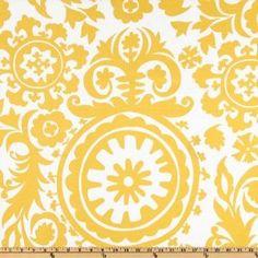 54'' Wide Premier Prints Suzani Slub Yellow/White Fabric By The Yard