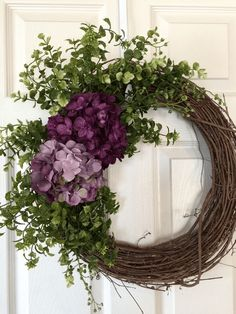 Newest Front Door Wreath Decor Ideas For Summer 20 Newest Front Door Wreath Dec. Newest Front Door Wreath Decor Ideas For Summer 20 Newest Front Door Wreath Decor Ideas For Summer 20 Dit badkamerm. Boxwood Wreath, Hydrangea Wreath, Diy Wreath, Grapevine Wreath, Wreath Burlap, Wreath Crafts, Wreath Ideas, Hydrangea Garden, Purple Wreath