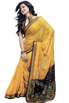 Yellow Faux Georgette Saree  Fabric: Georgette Color: Yellow Work Type: Floral Embroidery Blouse Length: 80 cm Saree Length: 6.25 meters Saree Width: 44 inches http://valehri.com/new-arrivals/599-yellow-faux-georgette-saree.html