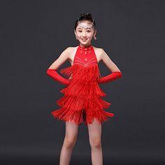 582fe1ad3b8a38 Kinderen - Latin Dans   Uitvoering - Jurken ( Fuchsia   Groen   Rood   Geel