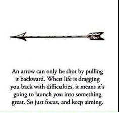An arrow pointing forward would make a very meaningful tattoo