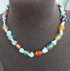Multi-Color Stone and Bead Colorful Necklace, 20 Inch Length, Pretty Vintage Southwestern Primitive Style Ladies Jewelry Necklace by GiftShopVintage on Etsy