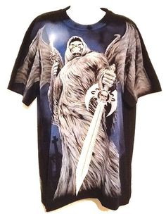 Men's Biker Skull Grim Reaper Tattoo Shirt Size L NWOT #RockEagle #GraphicTee
