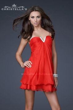 La Femme 15853 Dress Red - Shop the look at Christellas.com
