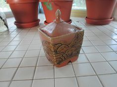 Vintage Pottery Ceramic Jar Container With by pinkpussykatvintage, $10.00