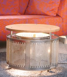 If you're replacing your old washing machine we show you a way to turn a stainless steel drum into a luminous coffee table. Smart Furniture, Steel Furniture, Recycled Furniture, Unique Furniture, Cheap Furniture, Table Furniture, Furniture Design, Japanese Furniture, Kitchen Furniture