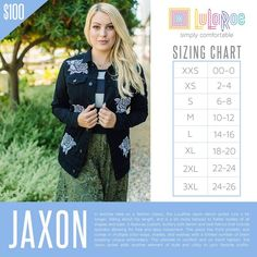 LuLaRoe Jaxon sizing. Shop with me on FB! https://www.facebook.com/groups/lularoemariawilsonboutique/