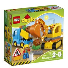 LEGO DUPLO Town Truck/Tracked Excavator, Dump Truck and Excavator Kids Construction Toy with Construction Figures, 26 pieces Toys R Us, Toys For Boys, Shop Lego, Buy Lego, Lego Duplo Town, Lego City, Lego Lego, Lego Duplo Bagger, Train Sets For Toddlers