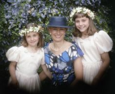 My little bridesmaids: Carole Middleton with daughters Pippa (left), then nine, and Kate, then 11
