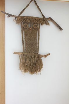 Vintage macrame owl large wall hanging natural by MossAndBerry, $65.00