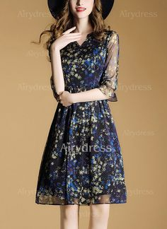 Dress - $24.63 - Polyester Floral 3/4 Sleeves Above Knee Casual Dresses (1955132177)