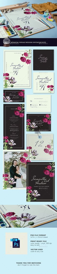 Botanical Vintage Wedding Invitation Suite - #Weddings #Cards & #Invites Download here: https://graphicriver.net/item/botanical-vintage-wedding-invitation-suite/19462893?ref=alena994