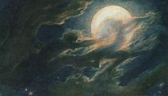 Cloud Ghosts I, Richard Riemerschmid, symbolist art Night Rain, Night Skies, Christian Morgenstern, Moonlight Painting, Moon Art, Medieval Fantasy, New Artists, Les Oeuvres, Art History