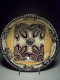 Fall Sgraffito 2014 Tootsie Bowl Pottery by Linda Ellard-Brown