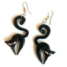 Черные кошки -  сережки из полимерной глины. Polymer clay.