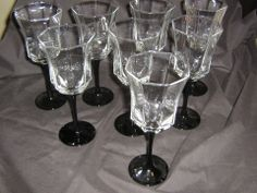 Set of 8 Crystal Luminarc Octime Black Stem Fluted Water / Wine Glasses France. I have these glasses and LOVE them.