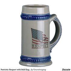 Patriotic Respect with Bald Eagle and USA flag Classic White Coffee Mug