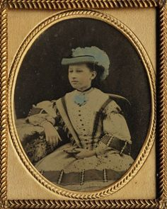 Ambrotype Pretty Victorian Girl Tinted Blue Hat Holding Another Cased Image | eBay