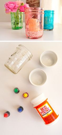 DIY Colored Glass Mason Jars | Click Pic for 20 Dollar Store Crafts for Home Decor Ideas for Cheap | DIY Home Decor Hacks Tips and Tricks