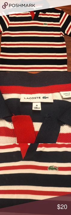 Boys Lacoste Polo Red white and blue stripe Like new Size 8 Boys Lacoste Shirts & Tops Polos