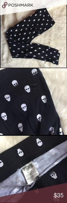 VS Pink Skull Leggings Black VS Pink rare skull print leggings. Only worn a handful of times. PINK Victoria's Secret Pants Leggings