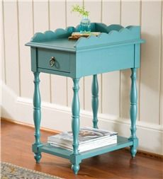 Scalloped Edge Side Table With Drawer
