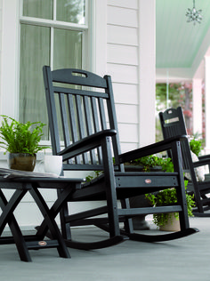 Great Black Oak Woods Rocking Chairs Rustic Models With Small Folding Coffee Table Black Wooden Materials Also Sweet White Wooden Wall Vintage House As Decorate Front Porch Furniture Decorating Ideas