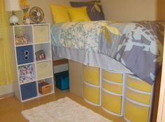 Bright and yellow dorm (line the front of your clear storage bins with the same color to unify the room... use contact paper or scrapbook paper...(scrapbook paper is easier to change out and less expensive...but harder to keep in place)