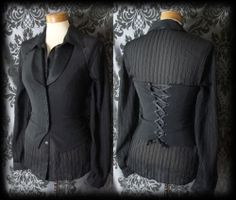 Gothic Black Fitted Ethereal Lace Up Corset Waistcoat
