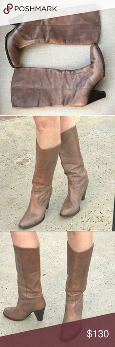 """MADEWELL HERITAGE BOOTS TALL western LEATHER brown Outstanding craftsmanship! MADEWELL HERITAGE boots in a rustic weathered gray brown leather. Chunky stable 3"""" heel balances this boho western style boot. Pull on, 15"""" circumference. Excellent condition! $298 SRP, sold out! (11.13) Madewell Shoes Heeled Boots"""